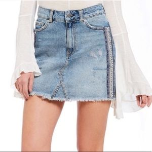Free People Side Embellished Stripe Denim Skirt 0